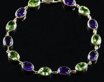 Suffragette Amethyst Peridot Gold Bracelet suffragette style
