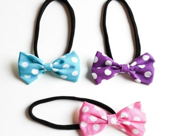 Trio hair ties all sizes dotted bow