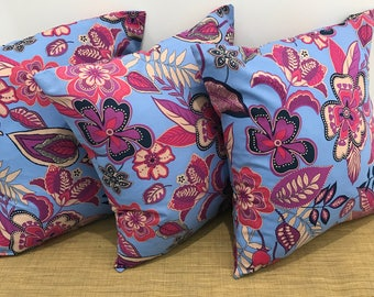"Set of 3 BOHO Decor Pink and Purple Flowers Floral Fabric Cushion Cover Throw Pillow. 16"" (41cm). Made Australia"