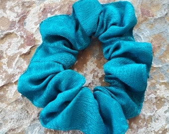 Handmade,beautiful, textured sky/bright blue, large scrunchie/bun holder/pony tie/pony holder/ braids holder/thick hair tie/dread locks tie