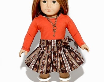 American made Girl Doll Clothes, 18 inch Doll Clothing, Burnt Orange Top, Circle Skirt made to fit like American girl doll clothes