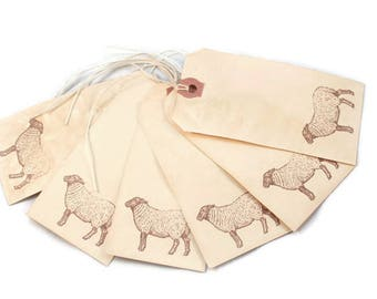 Sheep Tags, Primitive, Tea Stained, Country Style, Vintage Style, Lamb Tags, Hang Tags, Merchandise, Favor Tags, Journaling, Party Decor