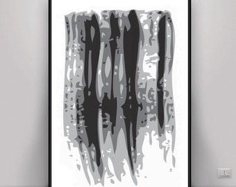 Abstract Art, Brush Print, DIGITAL ART, Minimalist Print, Black and White, Brush Stroke Art, Minimalist Art, Home and Office Decor