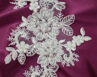 Ivory Lace applique, Beaded lace applique, French Chantilly lace applique, 3D lace, bridal lace applique