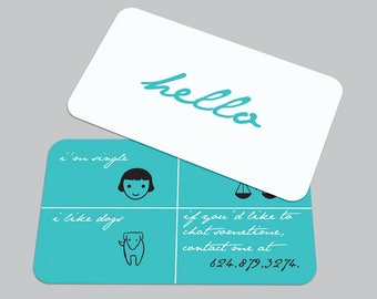 Modern Dating Printed CARD / Singles Calling Card / Custom Contact Card