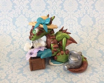 Dragon sculpture gardening dragon OOAK figurine green and brown dragon with flowers