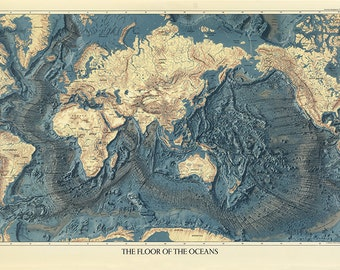 Map Of The Worldu0027s Ocean Floors And Land Relief. 1976. Vintage Restoration  Hardware Home