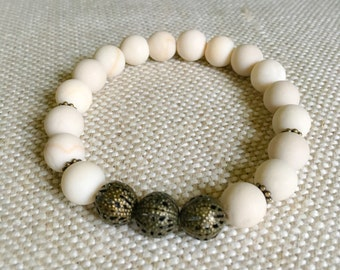 10mm Riverstone Beads with Bronze Tone Beads - Custom Fit Bracelet