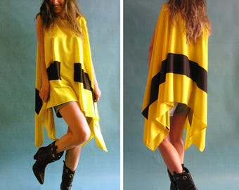 Yellow top, Oversize top, Loose yellow top, Fashion asymmetric top, Maxi top, Limited edition top