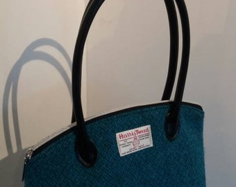 Petrol blue Harris Tweed shoulder bag / gift for her /   leather accents / black / Soown pattern / hand crafted / handstitched / handmade