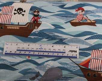 Pirate ships by Makower 100% cotton