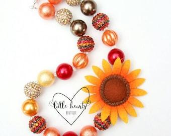 Fall Sunflower chunky bubblegum necklace