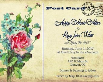 Postcard Flower Bouquet Wedding Invite