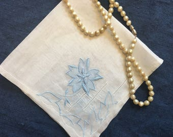 Blue Bride Handkerchief, FREE SHIPPING Vintage Bridal Shower Gift Handkerchiefs Wedding Floral Hankies Hanky Something Old Embroidered