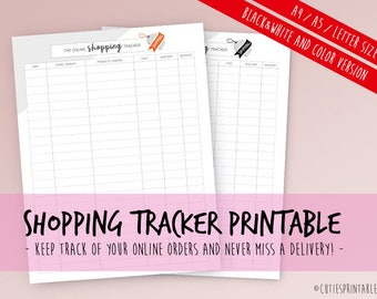 Online Shopping Tracker Printable, Online Purchases Log, Filofax A5, A4, Letter Size, Packages Tracker, Orders Organizer