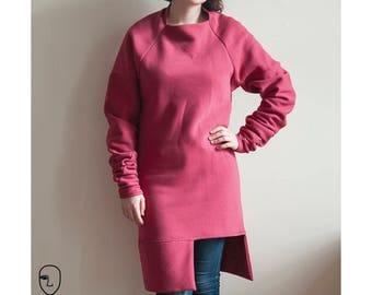 GREIA cherry pink zero waste sweater dress