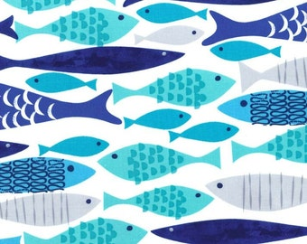 Mod Fish Blue by Michael Miller - Nautical Gray White Aqua Ocean - Quilting Cotton Fabric - by the yard fat quarter half
