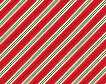 Studio Christmas Mini Candy Cane Stripe Red - Michael Miller - Holiday Red White - Quilting Cotton Fabric - by the yard fat quarter half