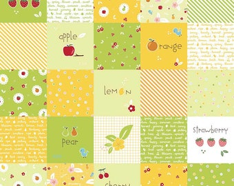 Sweet Orchard Main Designer Cloth Green - Riley Blake Designs - Yellow Fruit Squares - Quilting Cotton Fabric - choose your cut
