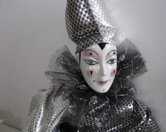 Vintage 1980s harlequin, porcelain doll, porcelain harlequin, porcelain clown doll, vintage harlequin, harlequin clown, vintage dolls
