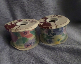 "Vintage Lion Ribbon Company Floral ribbon 2 Large rolls Never used 25 yards x 2       2 5/8"" width pink blue yellow"