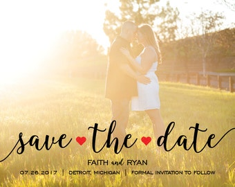 Hearts Photo Save the Date