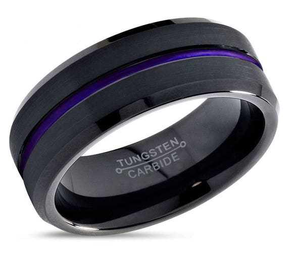 Tungsten Ring Mens Purple Wedding Band Tungsten Ring Tungsten