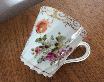 Pretty Antique Dresden Cup Floral and gilt decoration