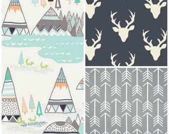 Teepee Arrows Crib Bedding, Crib Rail Guards, Crib Sheets, Crib Skirts, Crib Sheets, Choose your fabrics Crib Bedding, Woodlands Baby Sets