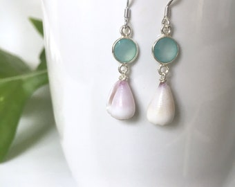 Sea Blue and/or Pink Chalcedony with Cone Shell Earrings, Sterling Silver