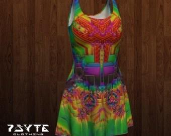festival dress, Reversable dress, flare dress, Rainbow dress, Hippie dress, Music festival clothing, rave dress, Psychedelic dress, spiral