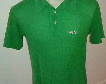 Vintage Retro  80's Men's size L Short Sleeve The Fox Green  3 button Golf Polo shirt