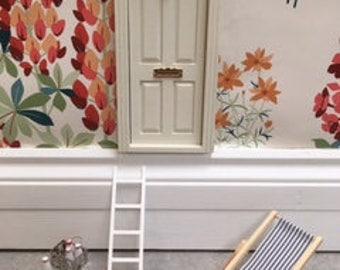 Fairy Door - Doll House Door hand painted cream