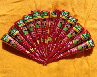 12 Henna cones- henna kit Natural Henna paste self making Body Tattoos- henna tattoo kit - Dark Output color