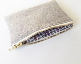 Organic coin purse, Organic Hemp and cotton purse Plumes Lavender Vanilla metal zip PS001