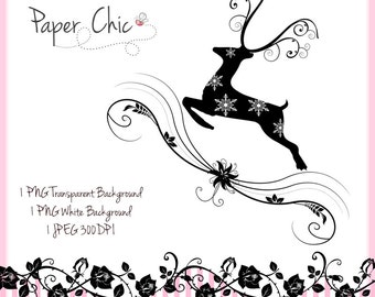 Silhouette Reindeer PNG Clip Art Commercial Use Instant Download