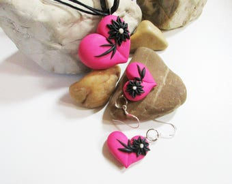 Pink heart pendant Hearts set Pink Jewellery set Black flowers Polymer clay Heart Necklace Heart Earrings Handmade Unique gift for woman