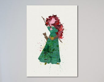 Princess Merida Brave Picture Watercolor print Poster Illustration Kids art Wall art little girl gift Nursery Fine Art express
