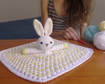 Handmade children's attachment of Bunny crochet blanket