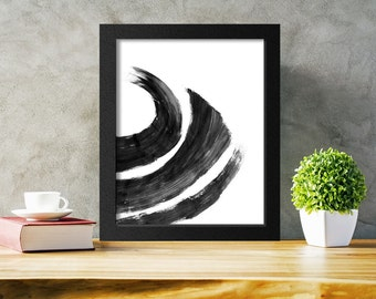 Abstract Brush Stroke Print, Modern Art, Minimalist Print, 8x10 11x14 A3 16x20, Printable Wall Art, Instant Download