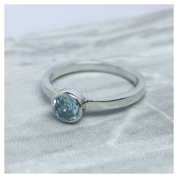 Solid Sterling Silver  and Topaz Statement ring, gift for her, stackable rings