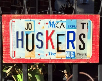 HUSKERS - custom Nebraska Huskers, license plate sign, graduation gift, tailgate
