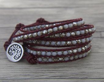 Gray AB Beads Bracelet Glass Crystal Beaded Bracelet 5 Wrapped crystal Bracelet Gypsy Beaded Bracelet BOHO Jewelry SL-0444