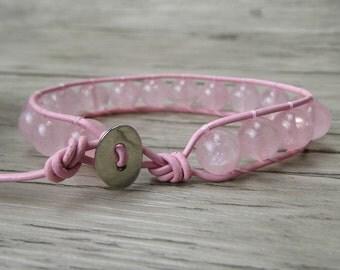 Pink stone bracelet Gemstone Bracelet rose quartz beads bracelet Boho Bead Bracelet Leather Wrap Bracelet Women Jewelry SL-0212