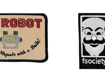 MR Robot FSOCIETY TV Series Show Embroidery Set of 2 patches beige Halloween costume Easy Iron/Sew On