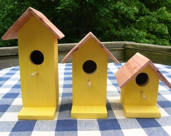 Cedar Birdhouses - Yellow - Decorative for Porch, Deck, Outdoor, Indoor Summer, Garden