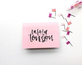 La La La Love You- blank inside greeting card-handletter