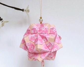 Pink Flower Kusudama, Flower Kusudama, Origami Flower, Origami Art, Origami Ornament, Japanese Ornament, Japanese Decor, Spring Decor