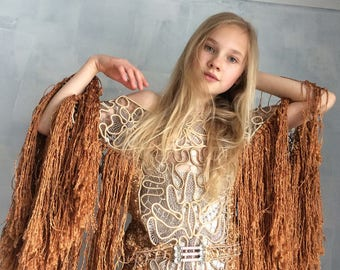 copper gold hand knitted semi formal  bohemian dress---s/m