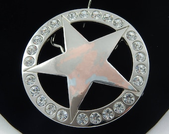 Vintage Star Shaped Belt Buckle with Rhinestones